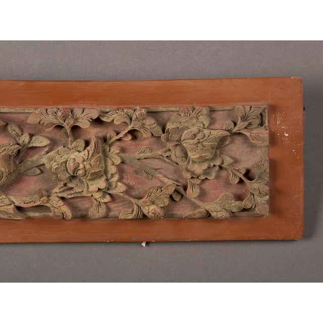 Late 19th Century Kuang Hsu Period Chinese Carved Painted & Gilded Rectangular Plaque For Sale - Image 4 of 6