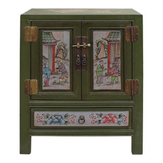 Chinese Oriental Distressed Olive Green Graphic End Table Nightstand