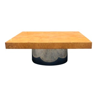 Late 20th Century Milo Baughman Burl Wood and Chrome Coffee Table For Sale