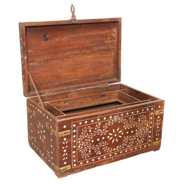 Primitive Brass Strap Inlaid Cash Box For Sale - Image 3 of 4