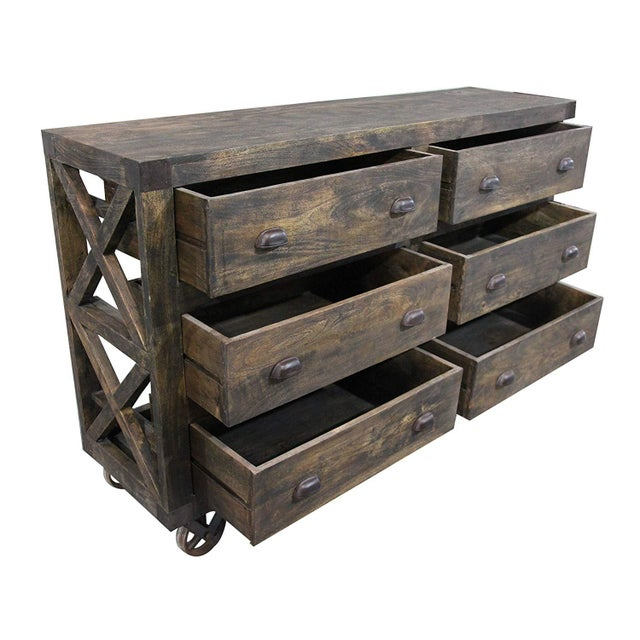 Rustic Rustic 6-Drawer Wooden Chest With Wheels For Sale - Image 3 of 8