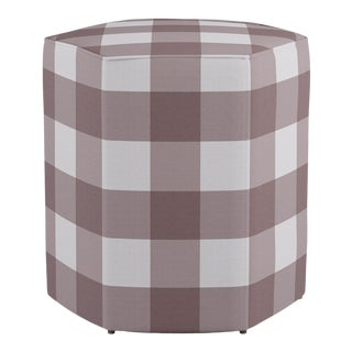 Hexagonal Ottoman in Rose Check For Sale