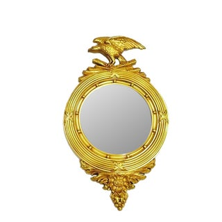 Vintage 1970s Convex Gilt Federal Eagle Mirror