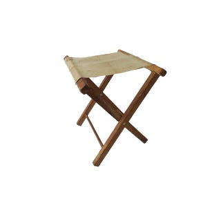 Vintage Wooden White Canvas Folding Camping Stool