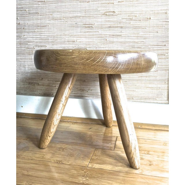 Charlotte Perriand Charlotte Perriand Genuine Vintage Ash Tree Tripod Low Stool For Sale - Image 4 of 7