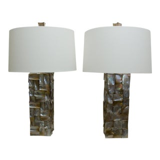 Rectangular Abalone Shell Lamps - a Pair For Sale