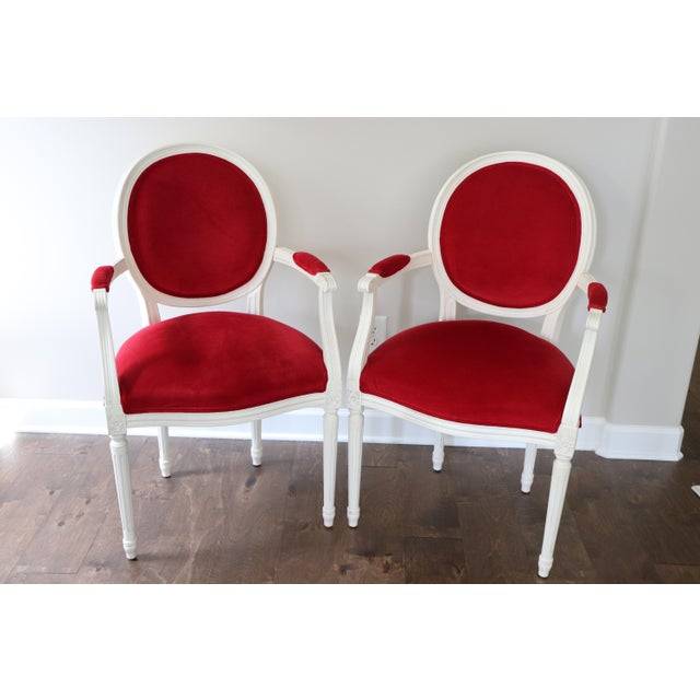 Late-Neoclassical French chair. Fully hand-carved. Antique white-washed wood Red Velvet Seat and Front of Back Green...