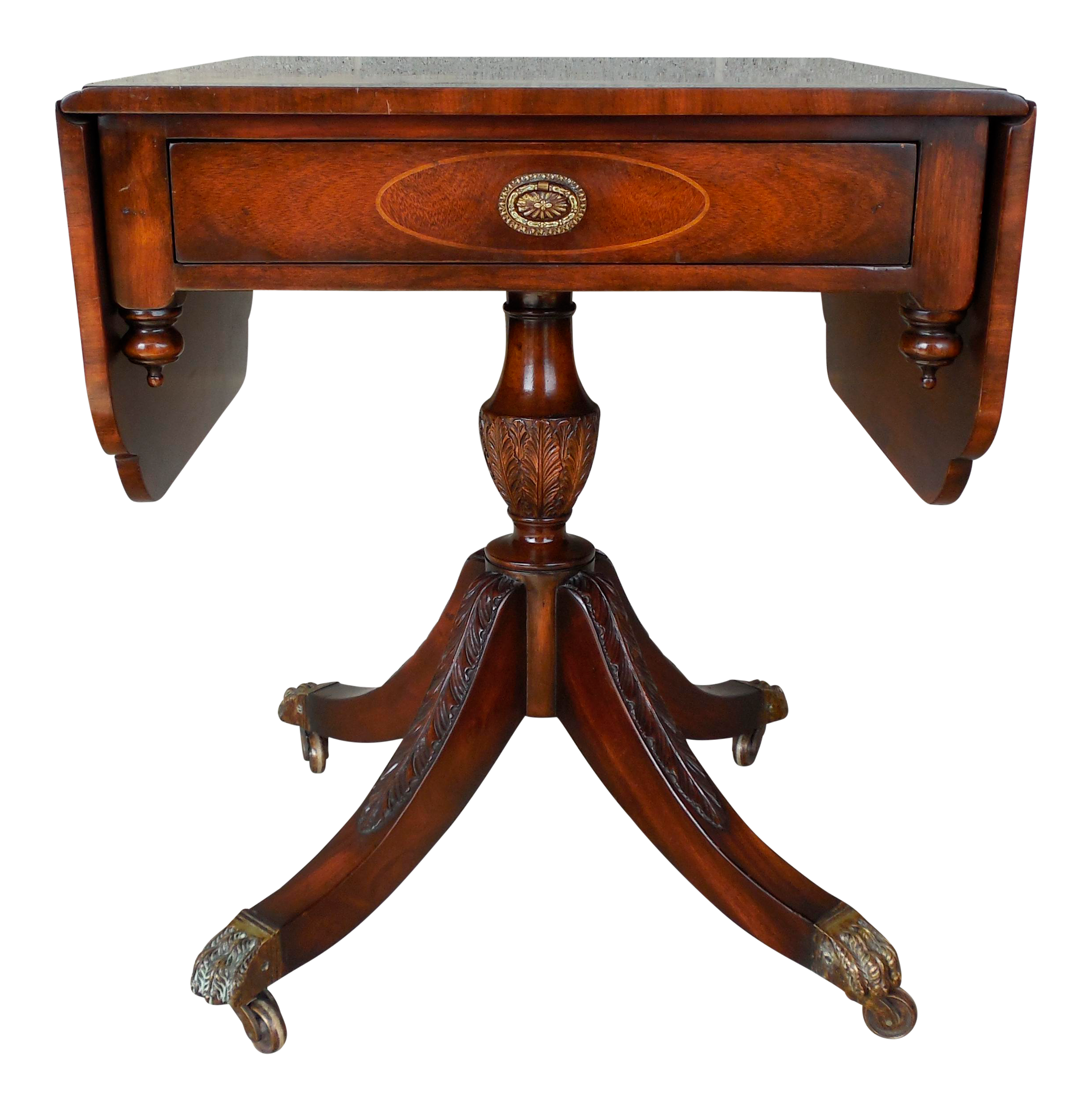 Charming MAITLAND SMITH Regency Style Mahogany Drop Side Accent Table