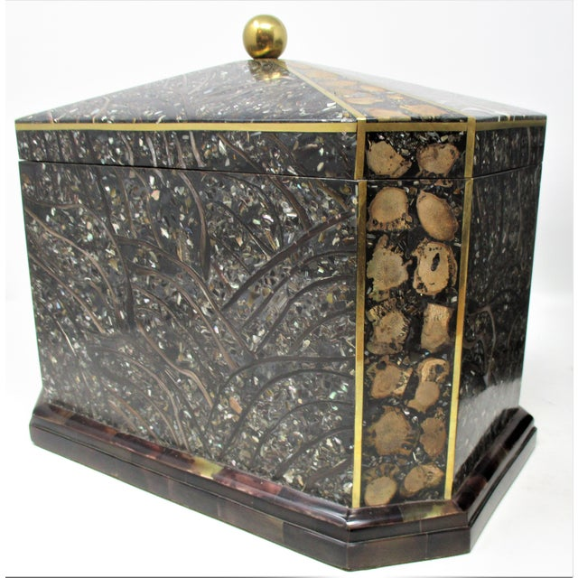 Maitland-Smith Inlaid Stone With Brass Accents Boxe For Sale - Image 11 of 11