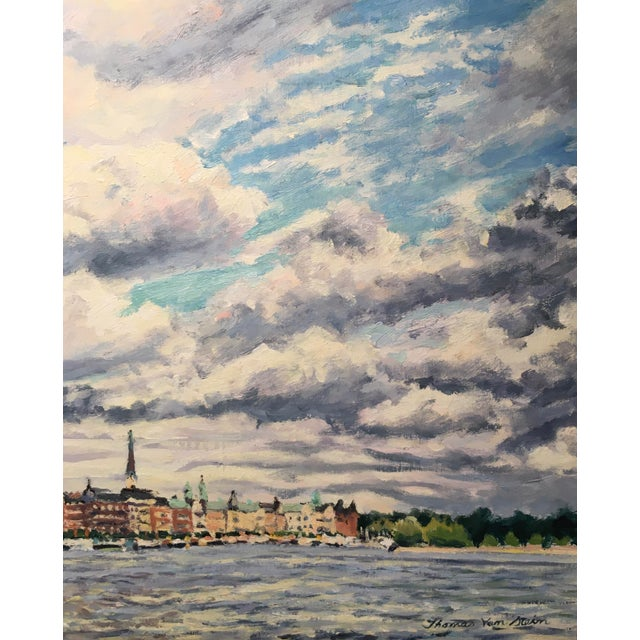 "1990s ""Old Stockholm"" Oil on Canvas Painting by Thomas Van Stein For Sale - Image 5 of 13"