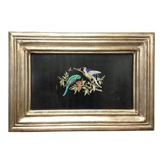 Italian Pietra Dura Bird Plaque #4 For Sale