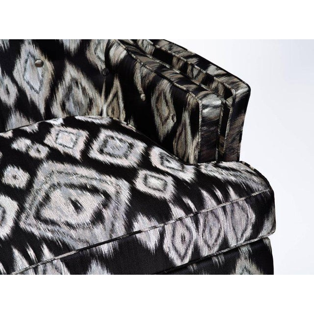 Silver Pair of Hollywood Regency High Back Lounge Chairs in Silk Ikat For Sale - Image 8 of 11