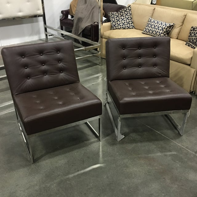 Drexel Heritage Leather & Chrome Chairs - A Pair - Image 2 of 6