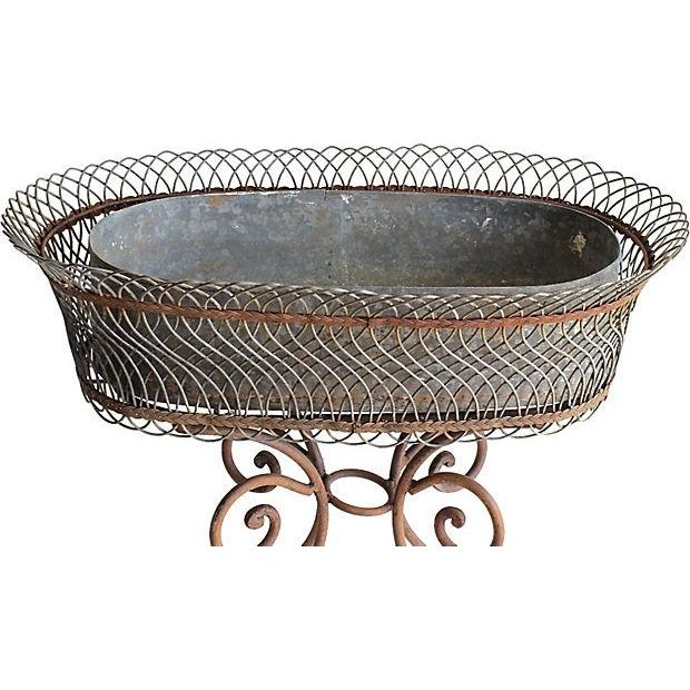 Vintage Wire Flower Box on Iron Stand - Image 3 of 4