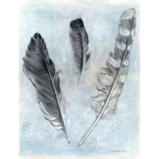Three Floating Feathers Kathleen Ney Mixed Media Drawing For Sale