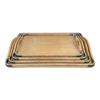 Vintage Mid-Century Wood & Metal Nesting Trays - Set of 4 For Sale
