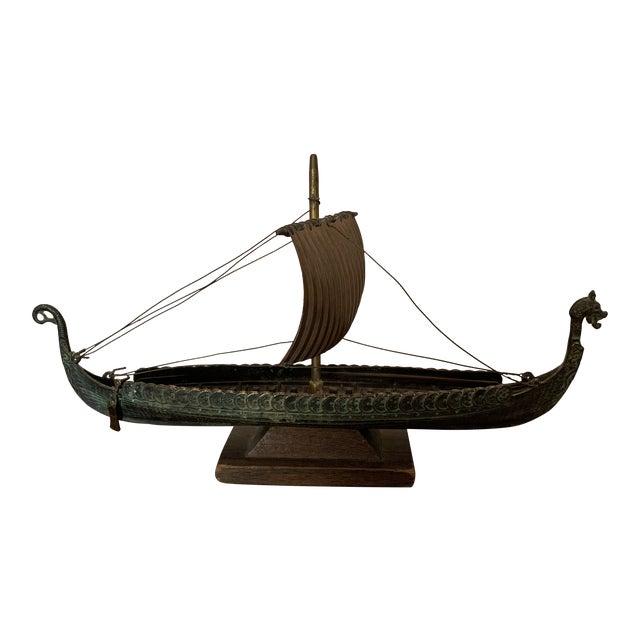 Edward Aargard Denmark Viking Bronze Model Ship For Sale