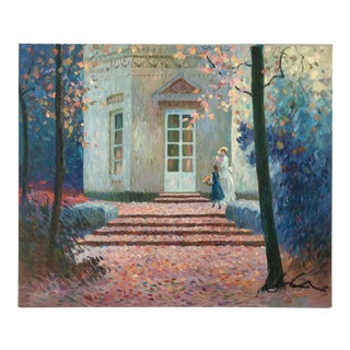 Vintage Impressionism House in Fall Scene Painting For Sale