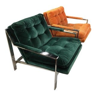 Cy Mann Chrome Lounge Chairs - Style of Milo Baughman - A Pair
