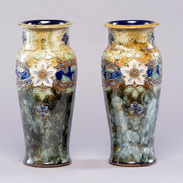Art Nouveau Pair Tall Royal Doulton Art Nouveau Lambeth Vases by Winnie Bowstead For Sale - Image 3 of 7