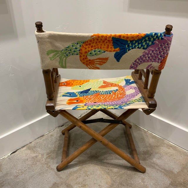 Traditional Vintage Needlepoint Director's Chair For Sale - Image 3 of 6