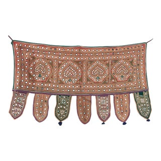 Vintage Embroidered Indian Mirrored Hanging For Sale