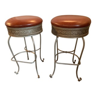 Modern Charleston Forge Leather Bar Stools- a Pair For Sale