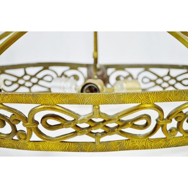 Art Deco Brass 8 Light Chandelier - Image 7 of 11