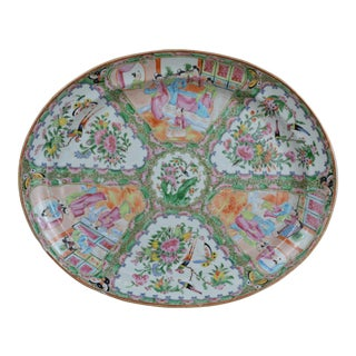 19th Century Famille Rose Oval Platter For Sale