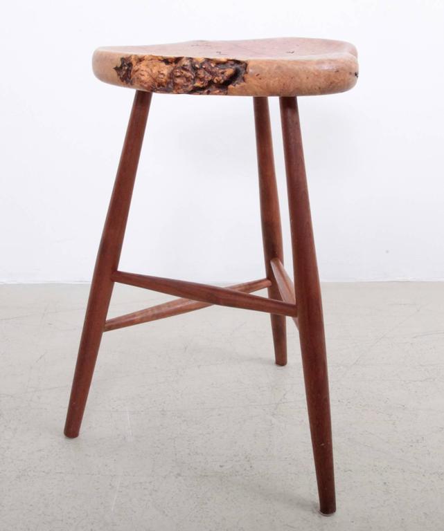 sophisticated california 1970s burl wood studio bar stool | decaso 1970s Bar Stools