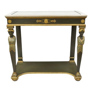 20th Century French Empire Green Painted Marble Top Figural Console Hall Table For Sale