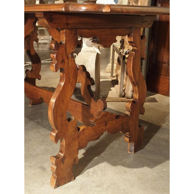 Metal 19th Century Tuscan Walnut Table With Shaped Wooden Stretchers For Sale - Image 7 of 13