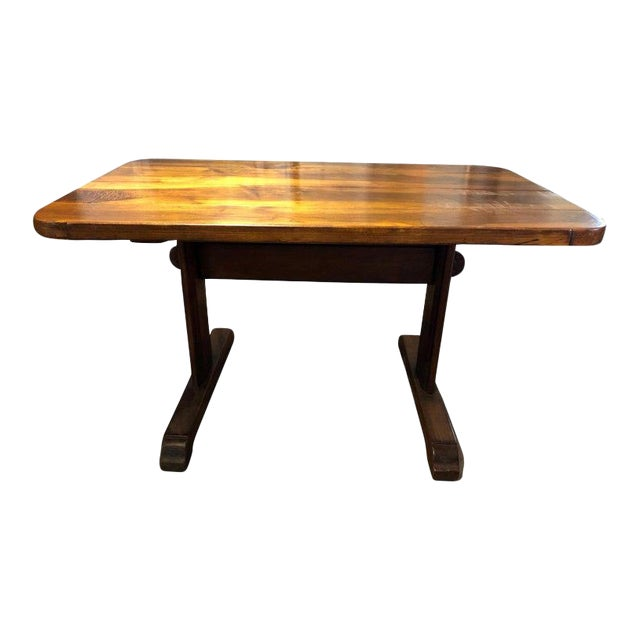 19th Century French Provincial Circassian Walnut Table With Trestle Base For Sale