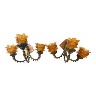 1940s Amber Petal Shade Wall Sconces - a Pair For Sale