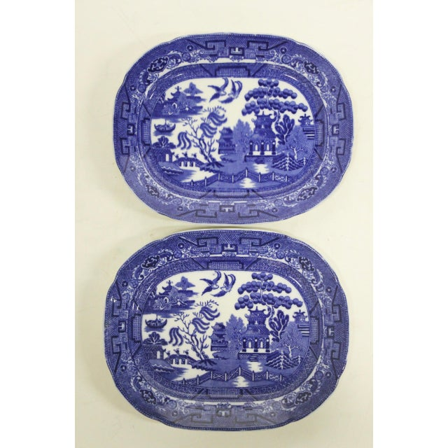 English Blue Willow Platters, Pair For Sale In Richmond - Image 6 of 6