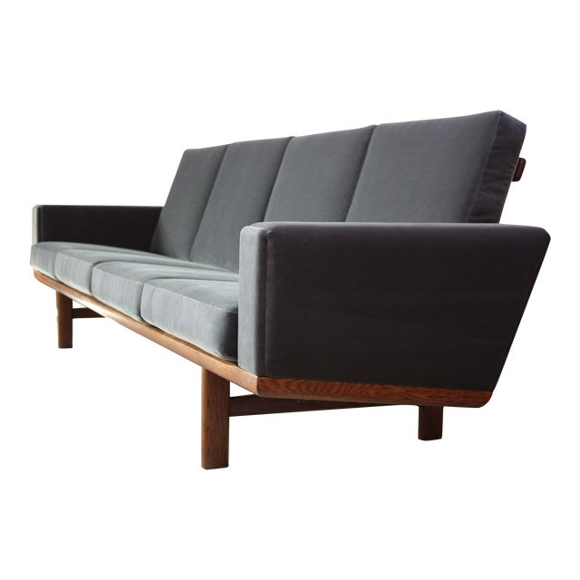 Hans Wegner for GETAMA Sofa in Oak and Velvet - Image 1 of 12