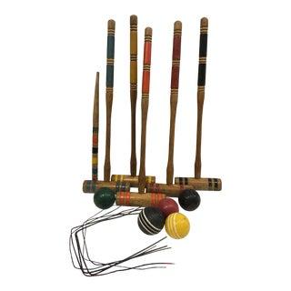 Vintage Croquet Mallets Balls & Bits - 17 Pc. Set