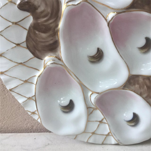 French Limoges French Oyster Plate Porcelain With Turkey Pattern For Sale - Image 3 of 12