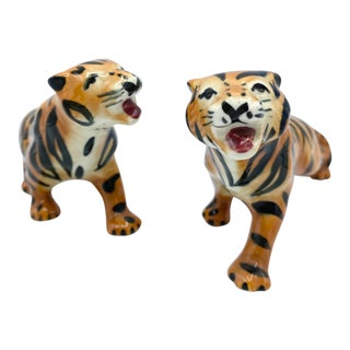 Vintage Porcelain Tigers-Set of 2 For Sale