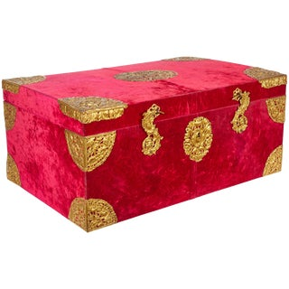 Large Gilt-Bronze Mounted Red Velvet Box / Trunk by e.f. Caldwell & Co. For Sale