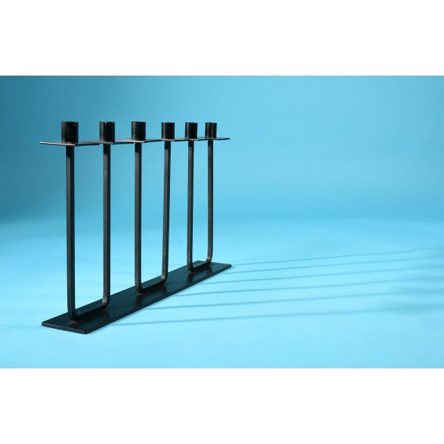 California Modern Candelabra by Van Keppel-Green Made in the USA circa 1950s Wrought iron Holds 6 taper candles