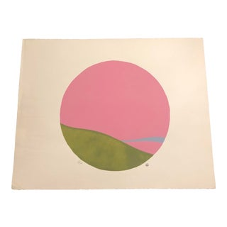 Pink, Green & Light Blue Colored Minimalist Hand-Painted Serigraph 4/20 by Geoffrey Graham For Sale