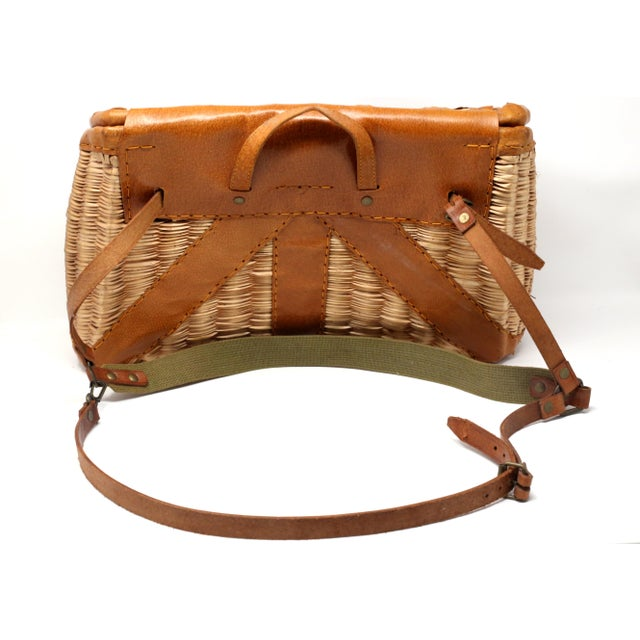 Wicker Vintage Leather and Wicker Fly Fishing Basket For Sale - Image 7 of 12