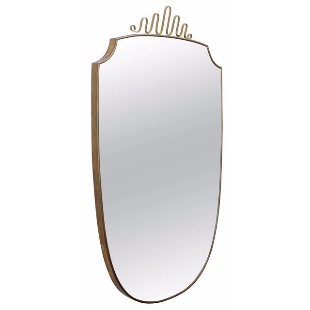 Gio Ponti-Style Italian Shield Mirror - Image 1 of 7