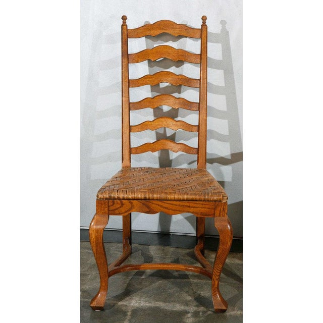 Rustic Ladder Back Dining Chairs - Set of 6 For Sale - Image 3 of 9