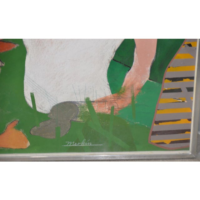 "Richard Merkin (1938-2009) ""Yamekraw, An Original Composition"" Monumental Mixed Media Painting Remarkable mixed media..."