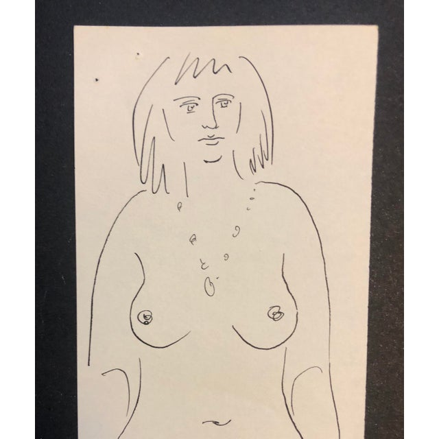 Figurative 1950s Mid-Century Modern Female Figure Study Drawing by James Bone For Sale - Image 3 of 4