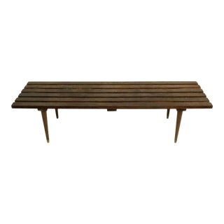 Classic Mid Century Slat Bench Coffee Table For Sale