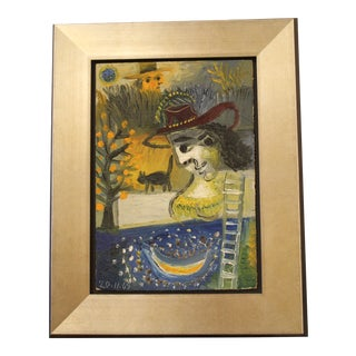 Raymond Debieve Man & Woman Cat Painting For Sale