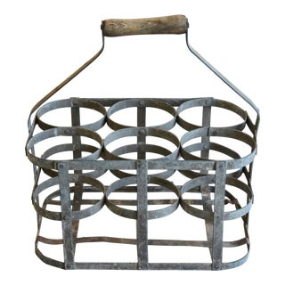 Antique French Zinc Six-Bottle Wine & Champagne Carrier For Sale